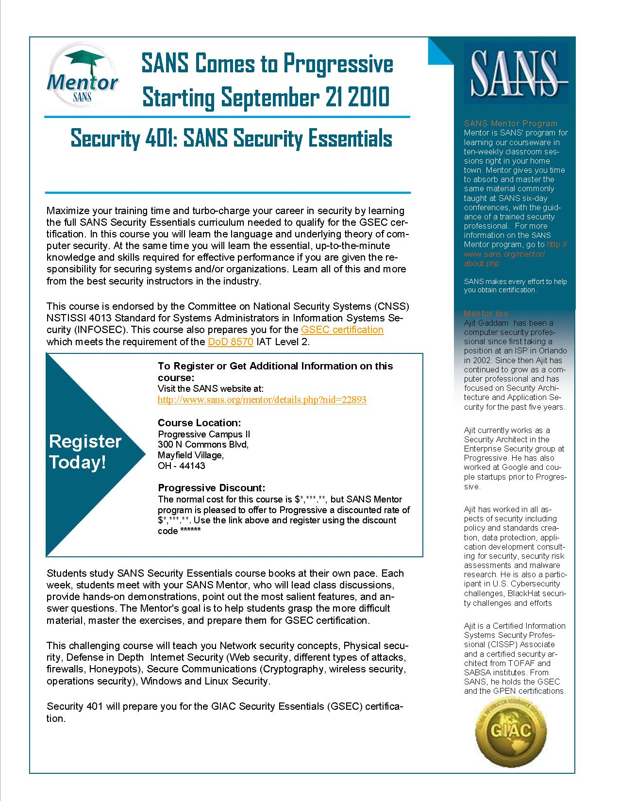 Mentoring the sans 401 security essentials class ajit gaddam ajit gaddam sans mentor promotion flyer xflitez Images